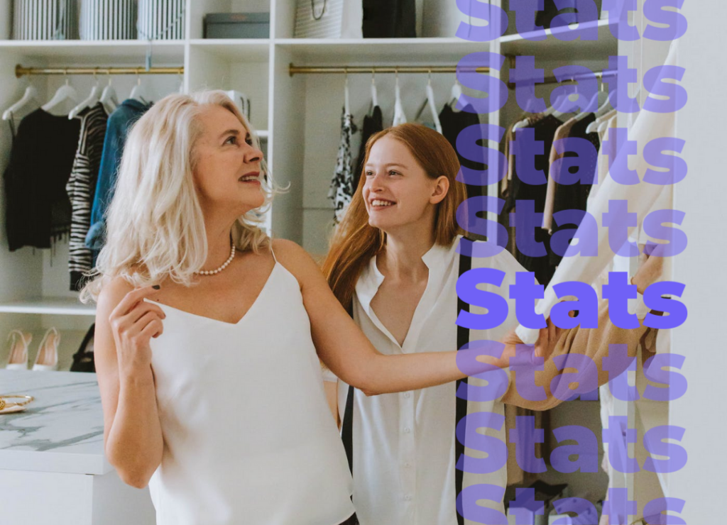 Women making a decision while shopping for clothing.